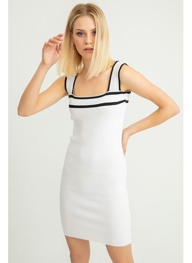 Foremia Triko Şerit Detay Kalın Askılı Elbise Ekru